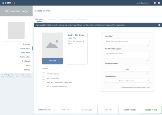 The Admin dashboard from the Sigma application