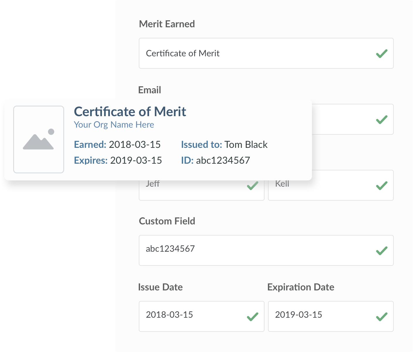 The send a merit screen from the Sigma application