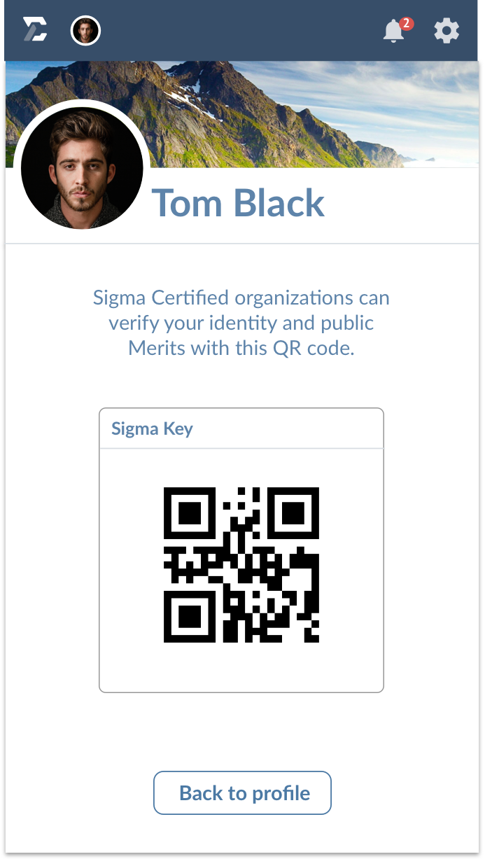 The Sigma mobile app, showing a user screen, showing the QR code for this user